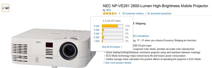 تصویر نطرات کاربران سایت آمازون درباره ویدئو پروژکتور ان ای سی NEC NP-VE281G