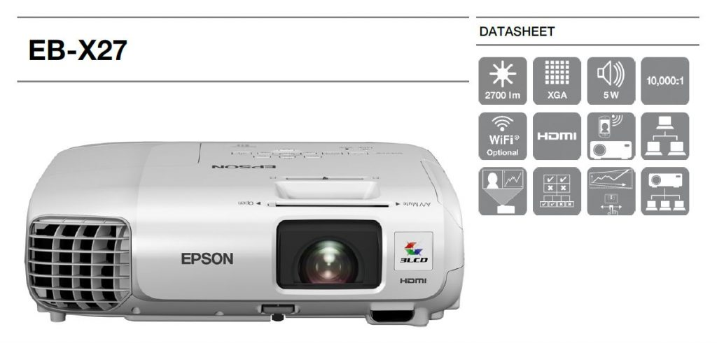 ویدئو پروژکتور اپسون مدل EPSON EB-X27